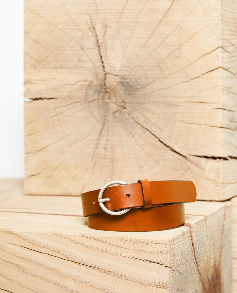 Smooth leather belt, medium model Camel Girouette