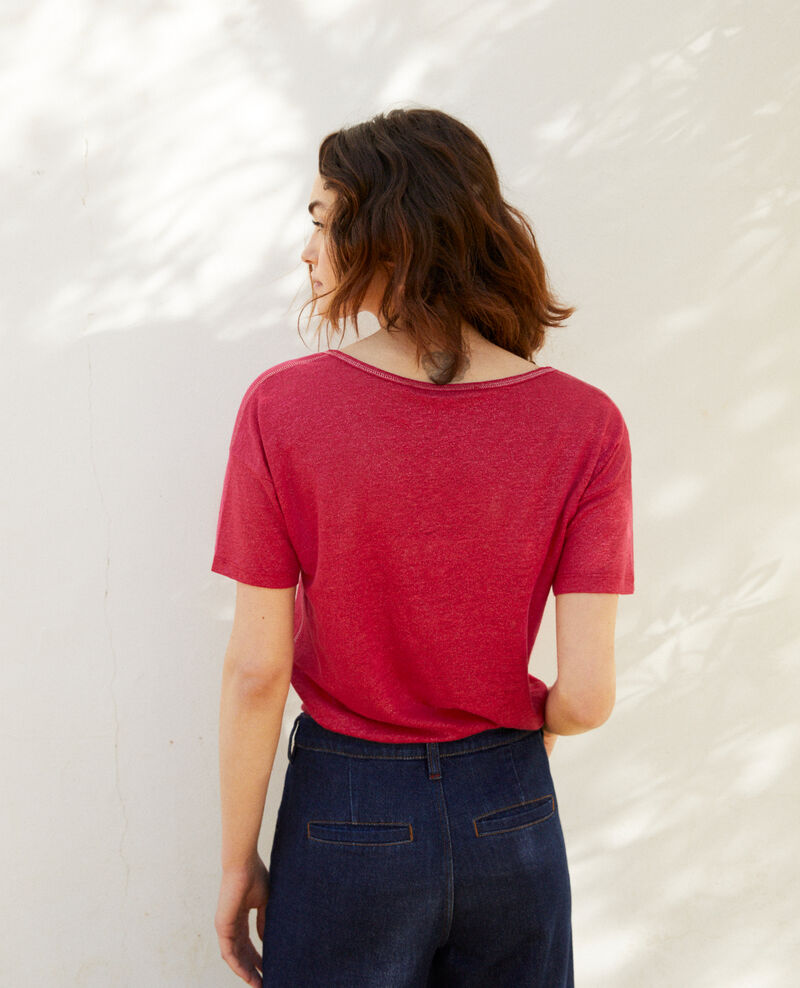 Shiny linen t-shirt Fushia Imapou