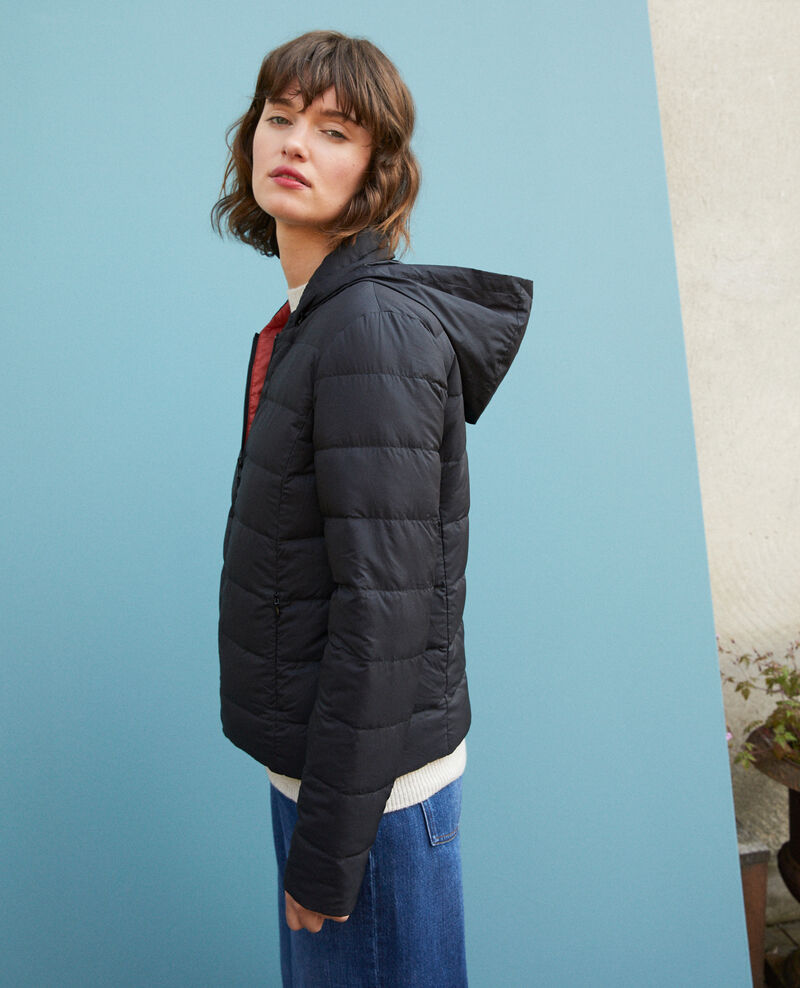 Reversible padded jacket with packable hood Black Dalife