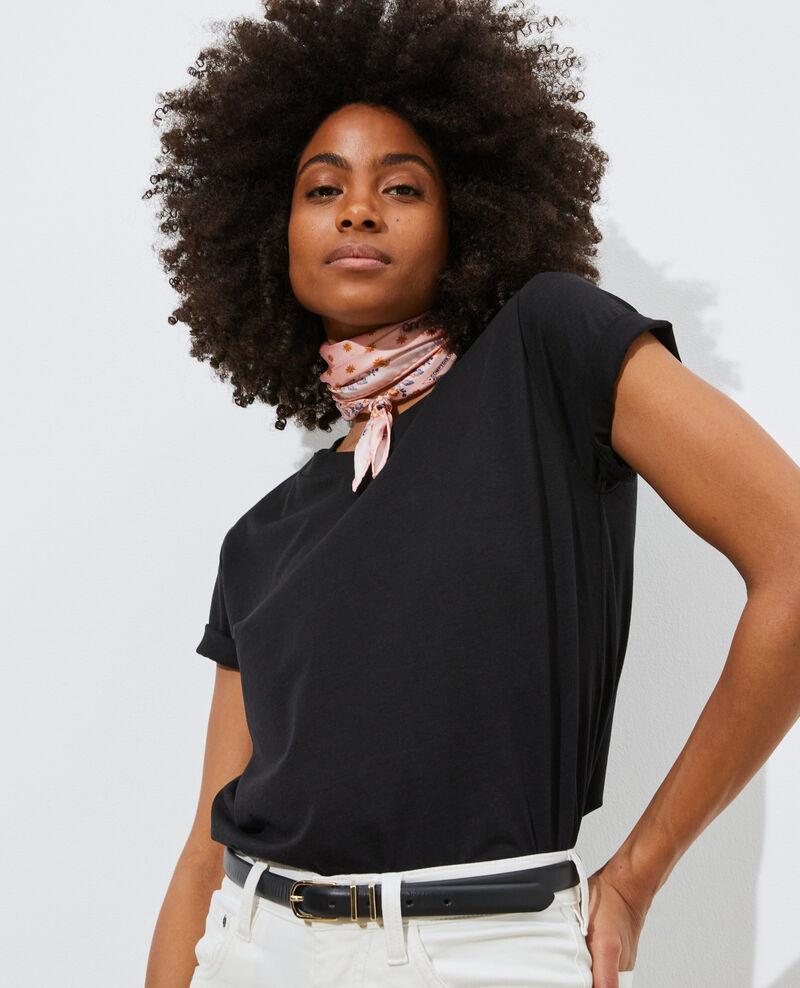 Loose round neck t-shirt Black beauty Pirous