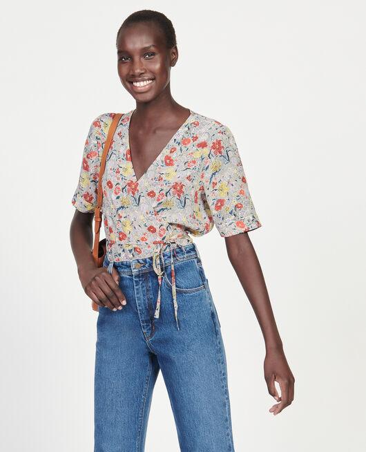 Floral silk wrap blouse PRINT EDEN CREAM