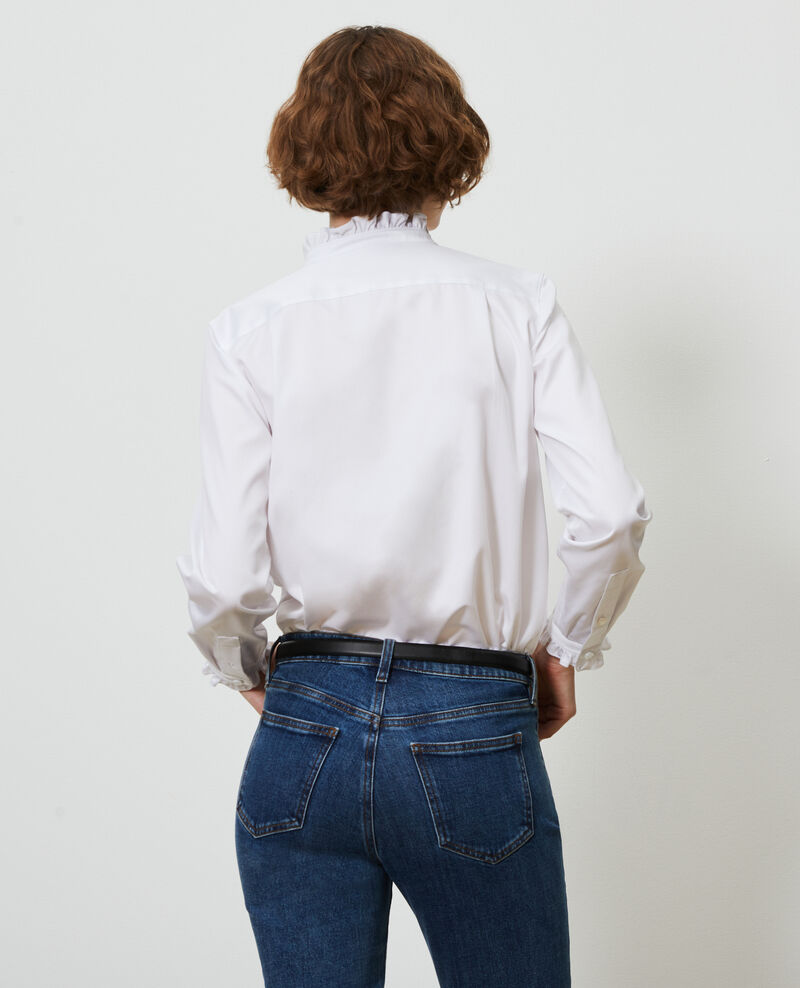 Ruffled high collar cotton shirt Brilliant white Marcenat