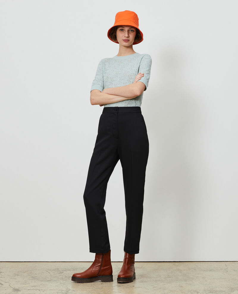 Elasticated 7/8 trousers MARGUERITE Black beauty Napoli