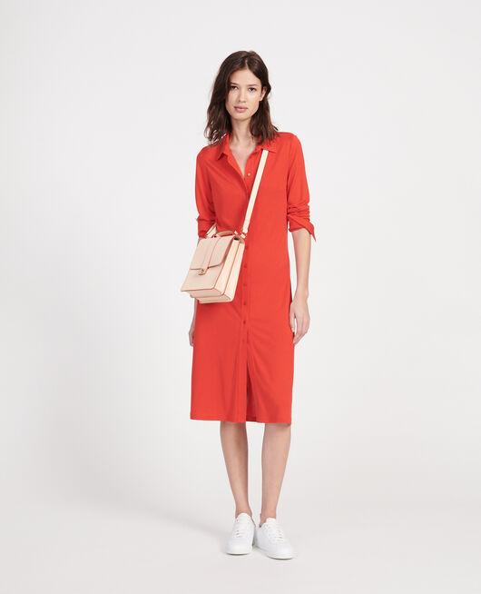 Leather bag STRIPES FIERY RED GARDENIA