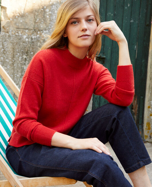 Jumper with buttons on the back 100% cashmere MOLTEN LAVA