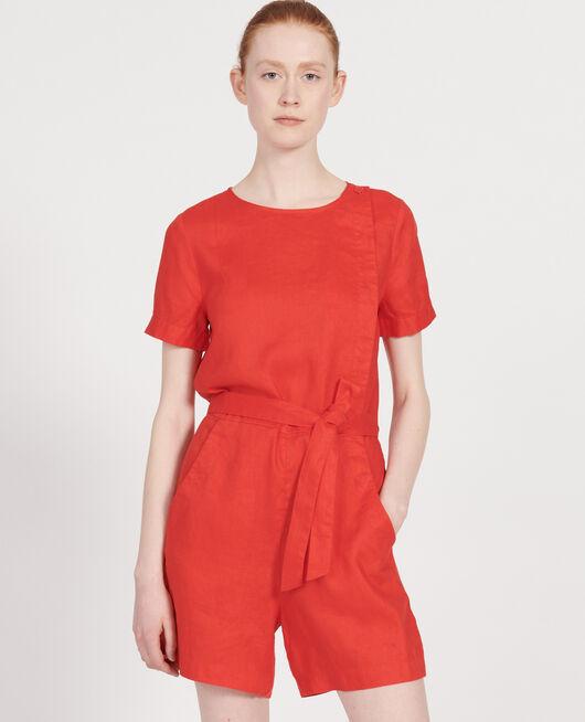Linen playsuit FIERY RED
