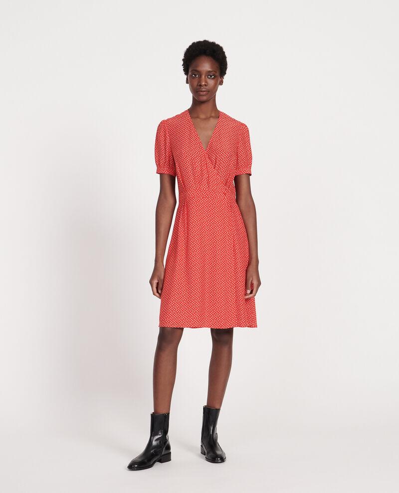 Silk wrap dress Memphis fiery red Leanie