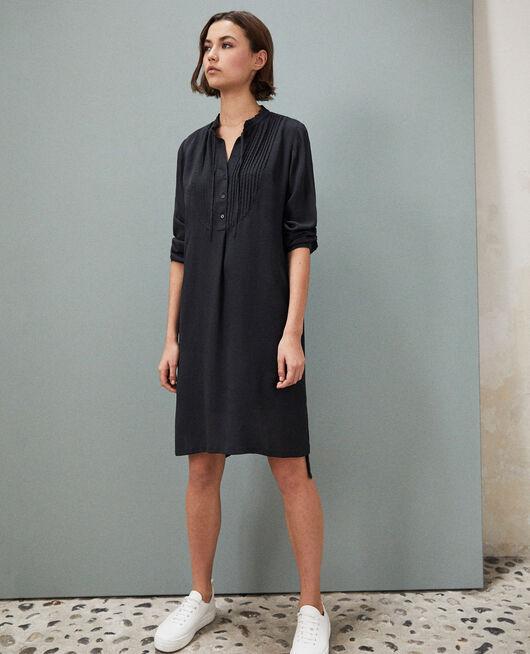 Silk dress with yoke NOIR