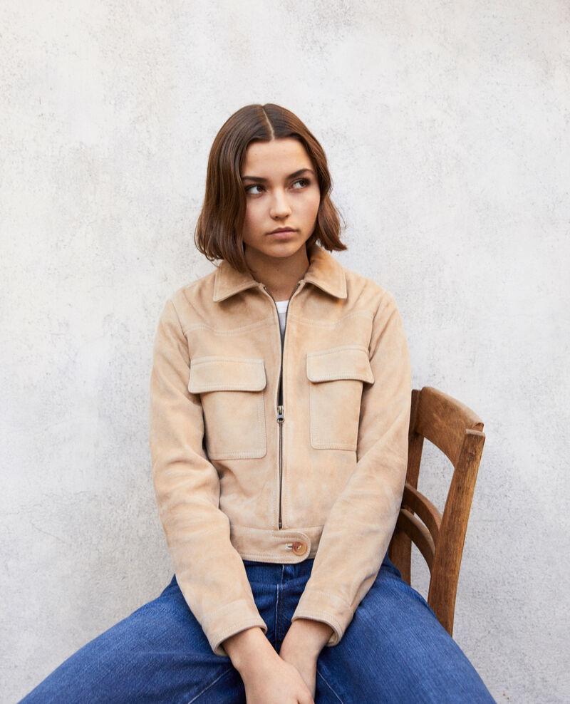 Short suede jacket Camel beige Irmelle