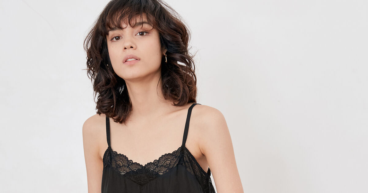 Nightie-style top with lace Noir - Fanny  fbcfcd504
