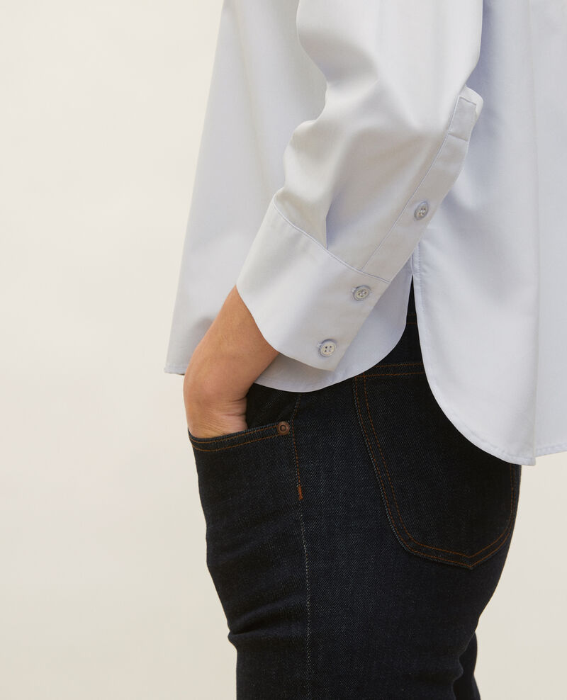 Collarless shirt in cotton poplin Heather Lyringas