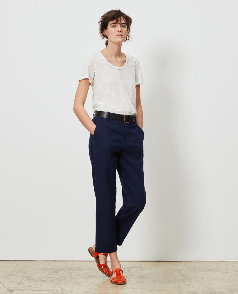 Linen and cotton 7/8 trousers Maritime blue Laiguillon