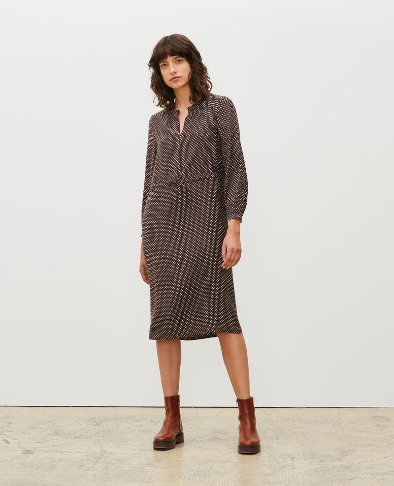 Loose silk dress Little pois coffee bean Megrisa