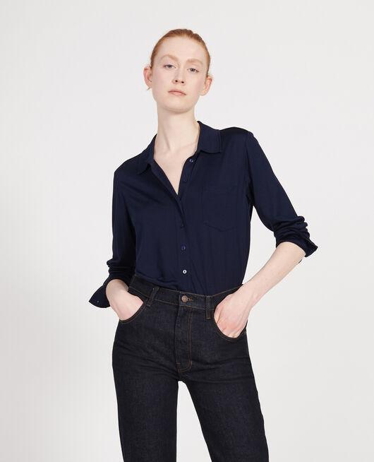 Silk jersey shirt MARITIME BLUE
