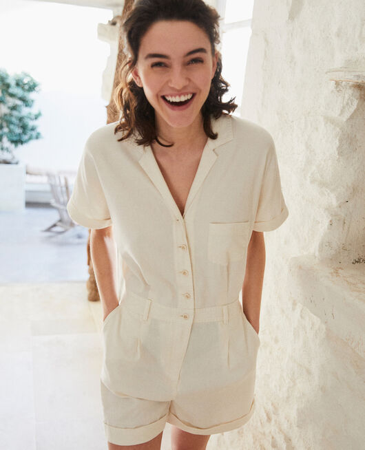 Tailored collar playsuit OFF WHITE