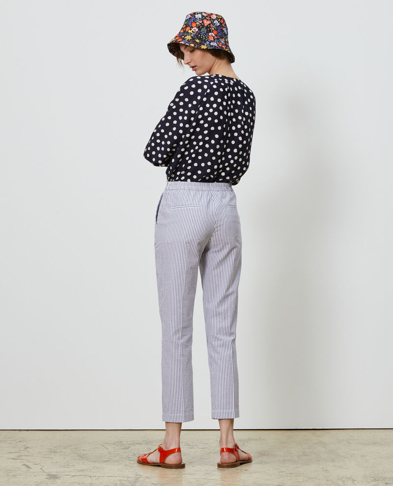 MARGUERITE trousers, cotton seersucker 7/8 cigarette pants Str navy Nyokeasy
