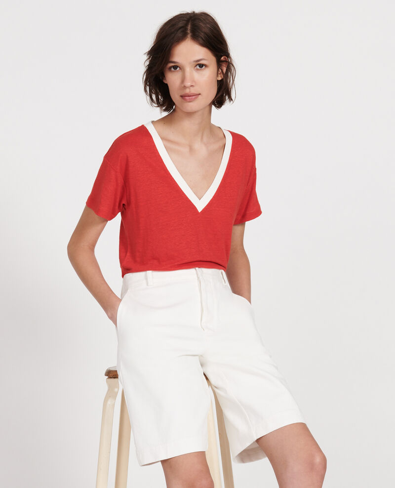 Linen jersey t-shirt Stripes fiery red gardenia Locmelar