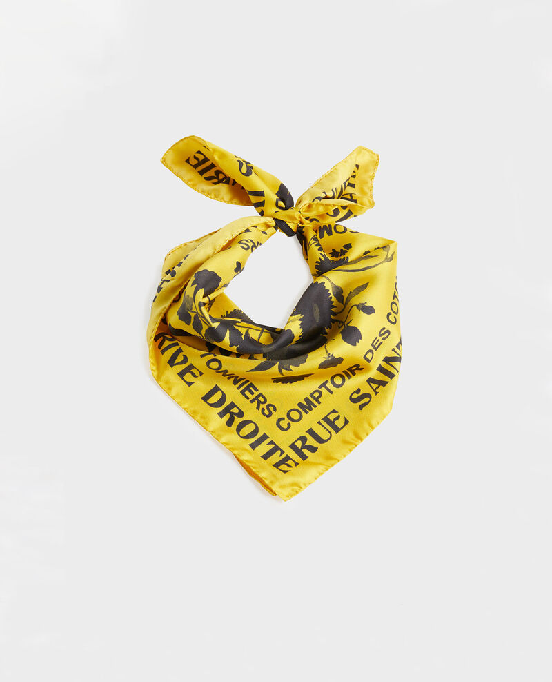 Square silk scarf Lemon curry Maraiche