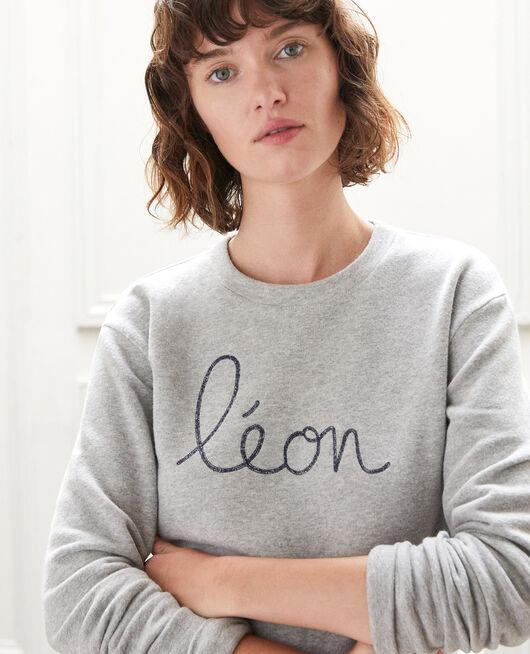 Embroidered Léon sweatshirt Grey