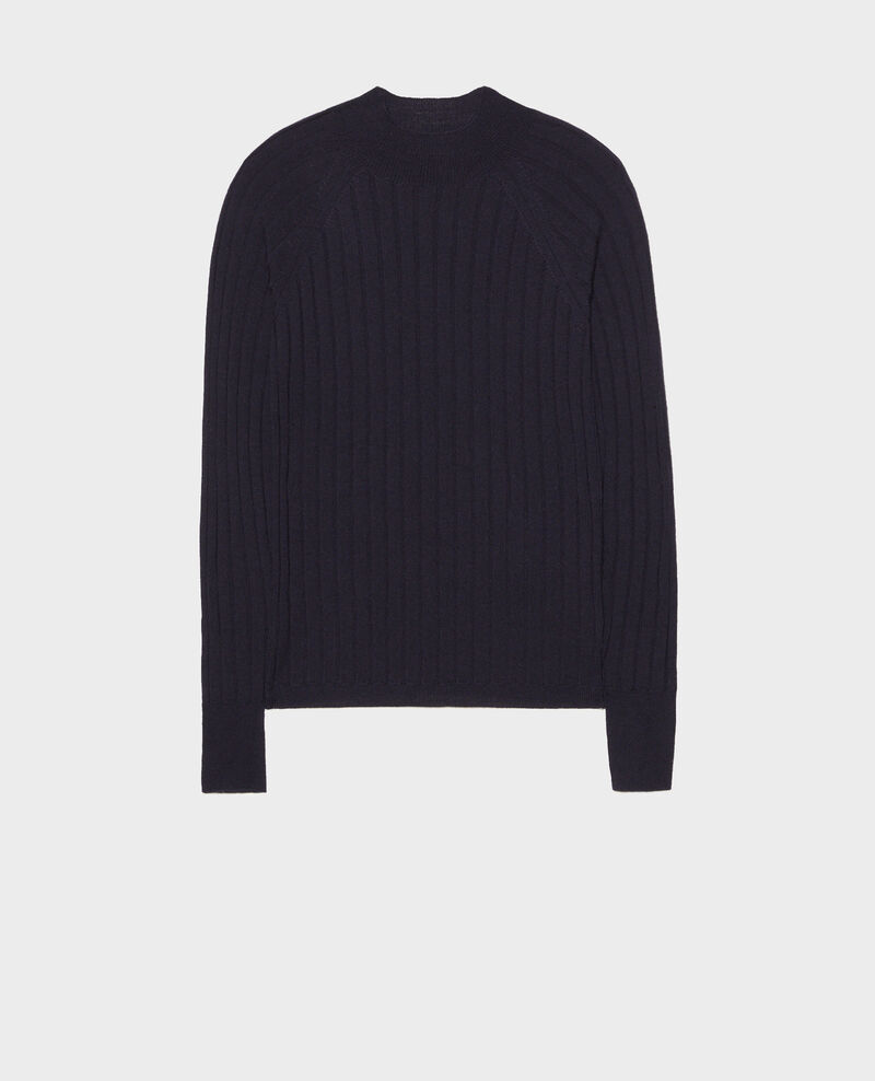 Ribbed merino wool turtleneck jumper Night sky Mulie
