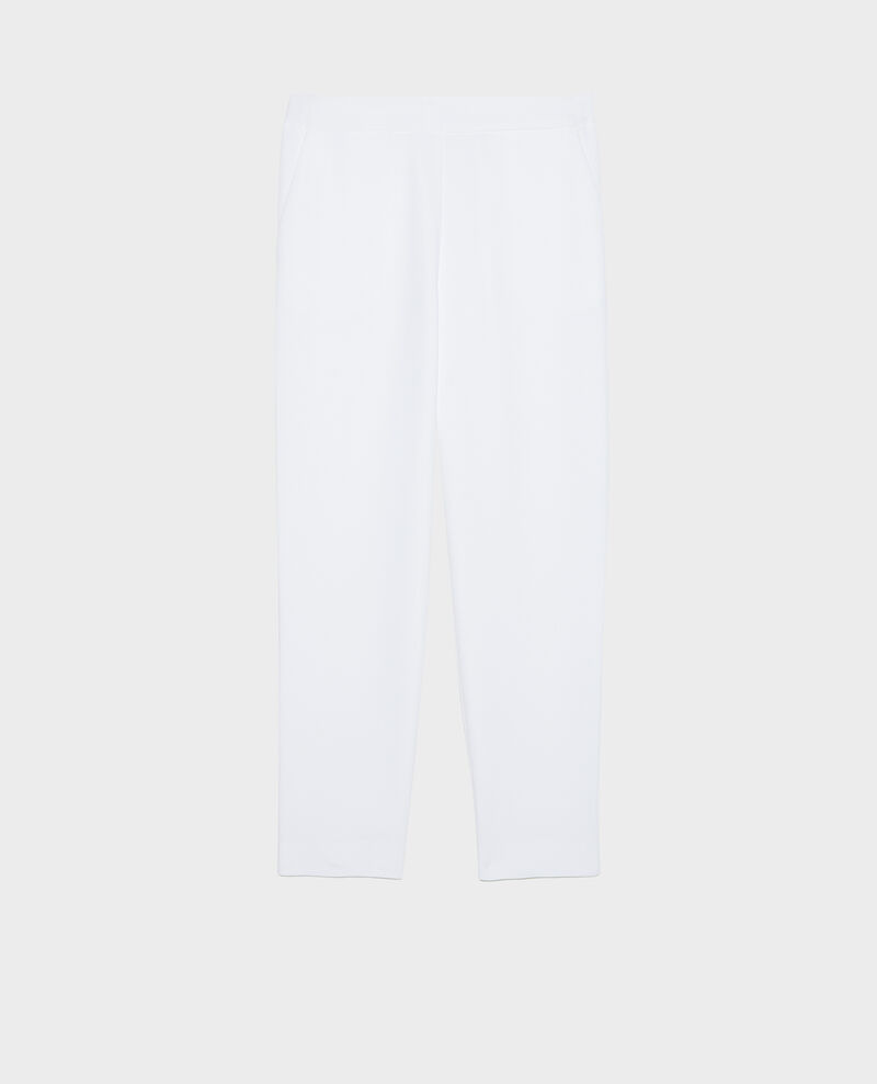 Loose elasticated polyester trousers Optical white Luant