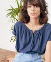 Bimaterial T-shirt Indigo Fara