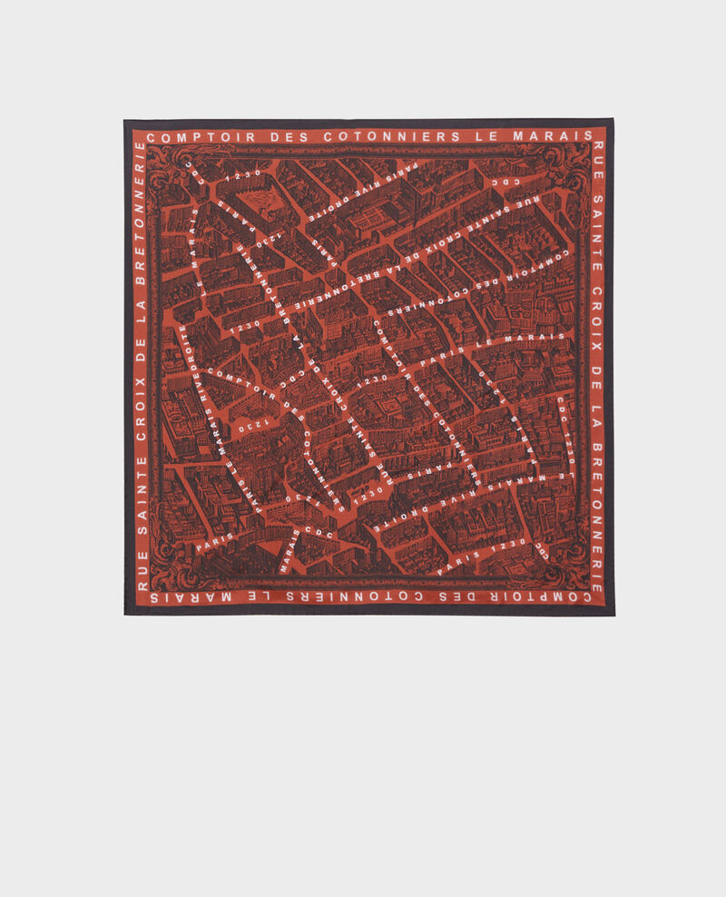 Square silk scarf Brandy brown Mamap