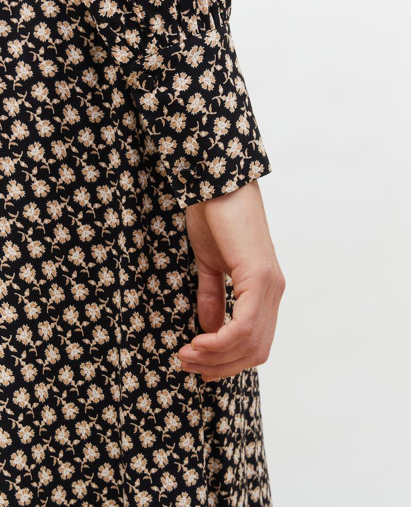 Floral print flared wrap skirt Print fleurettes black latte Maymeca