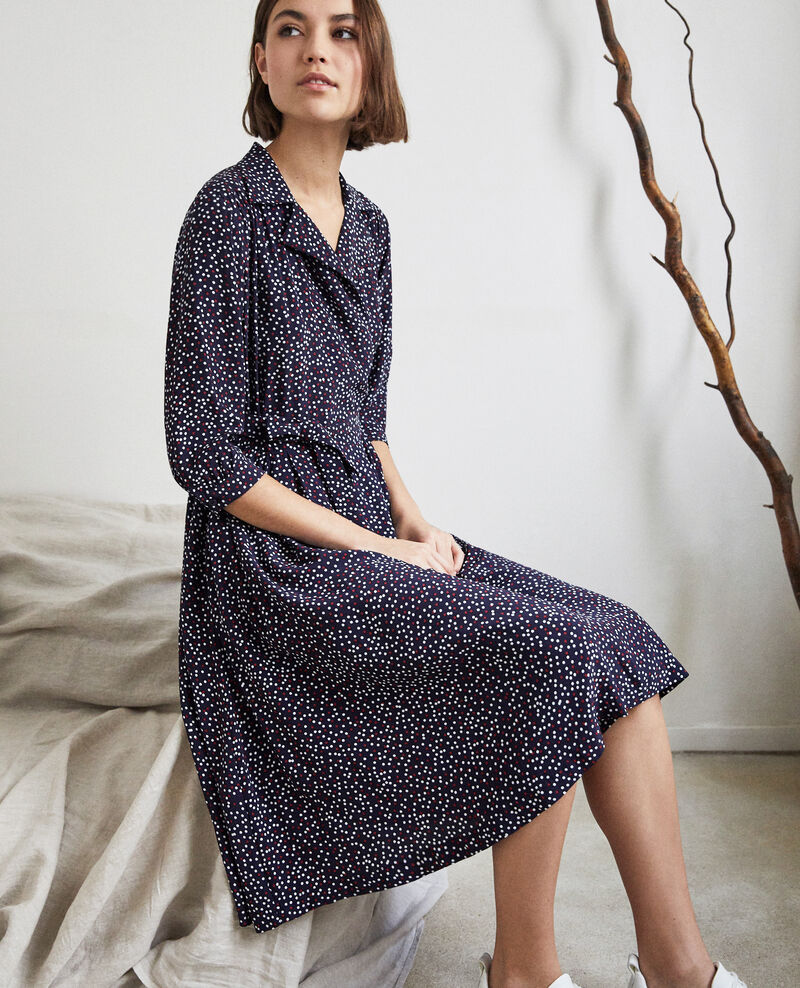 Wrap dress Dot print navy Ipage