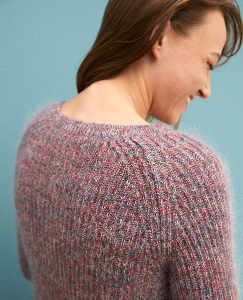 Flecked mohair jumper Pompeian red/ultra green/off white Girofle