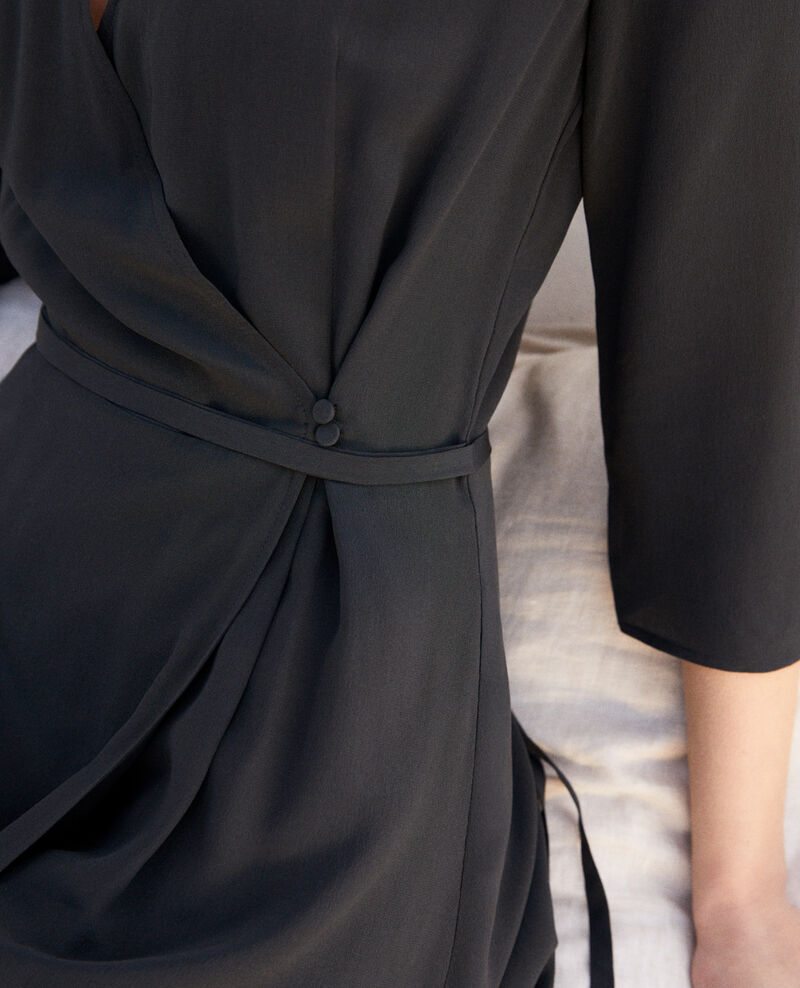Silk wrap dress Noir Icoeur