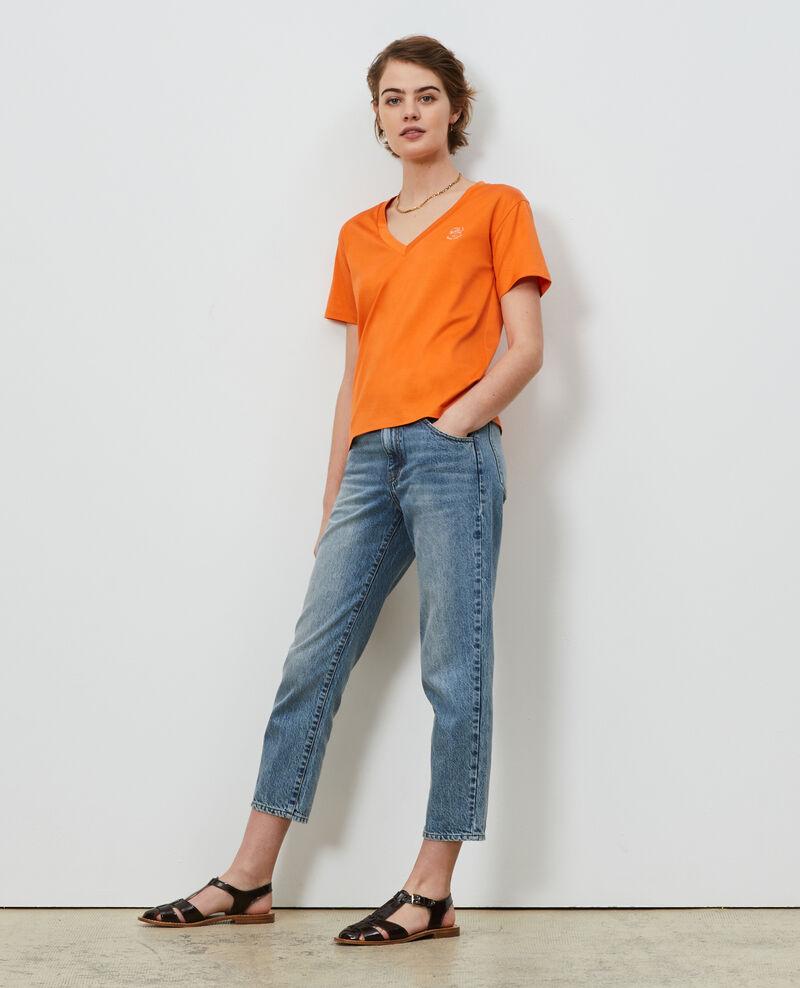 Embroidered cotton t-shirt Harvest pumpkin Nagaoka