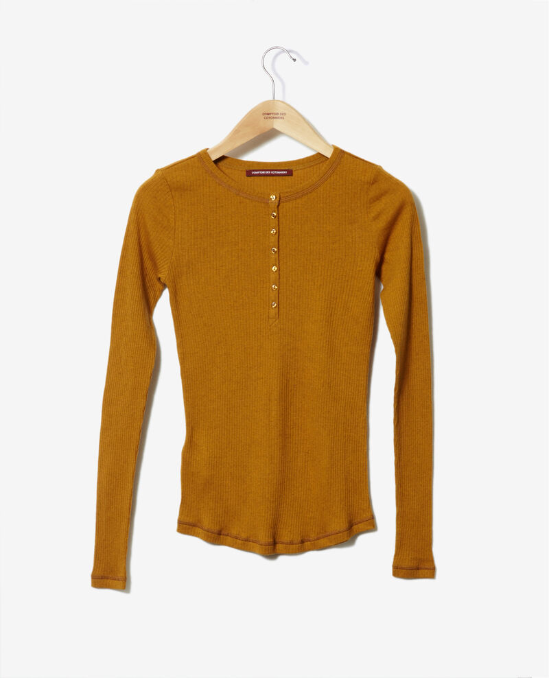 T-shirt with button tab Golden brown Grila