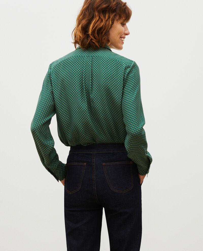 Long-sleeve silk men's shirt Little pois dark green Morigesa