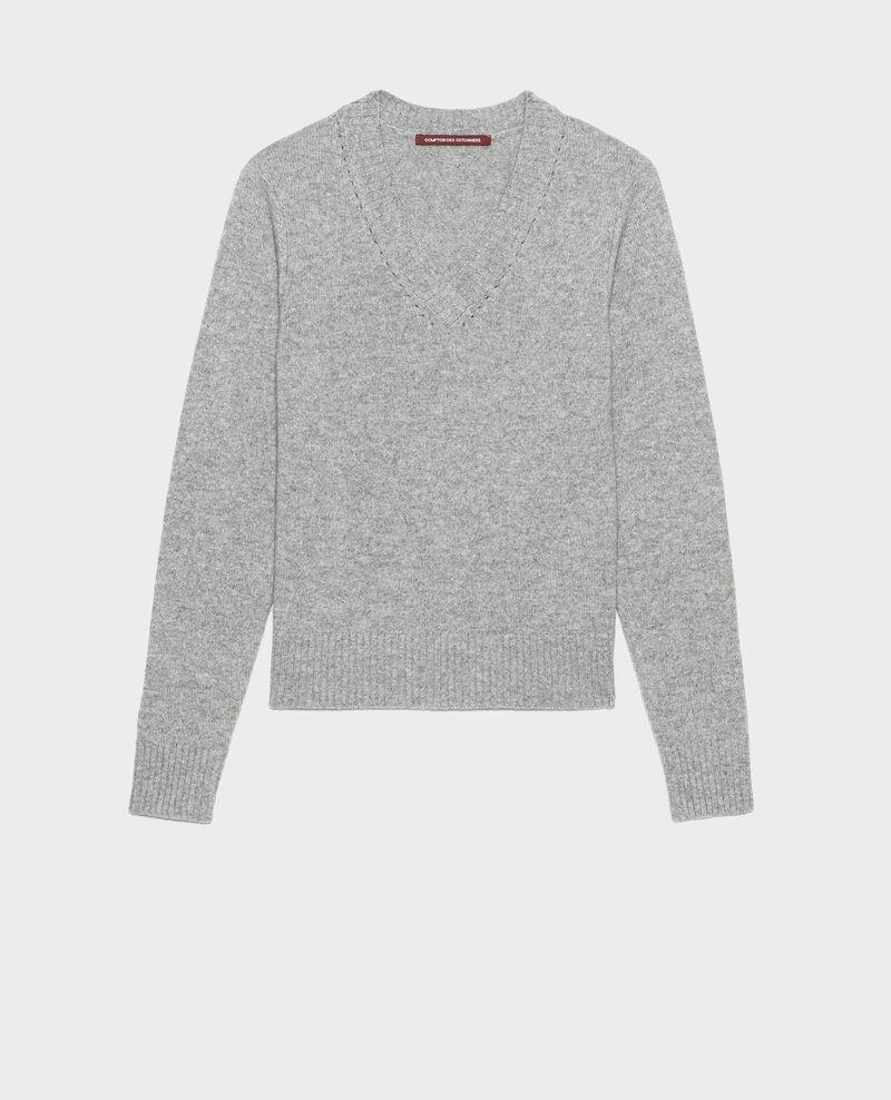 V-neck cashmere jumper Light grey melange Millac