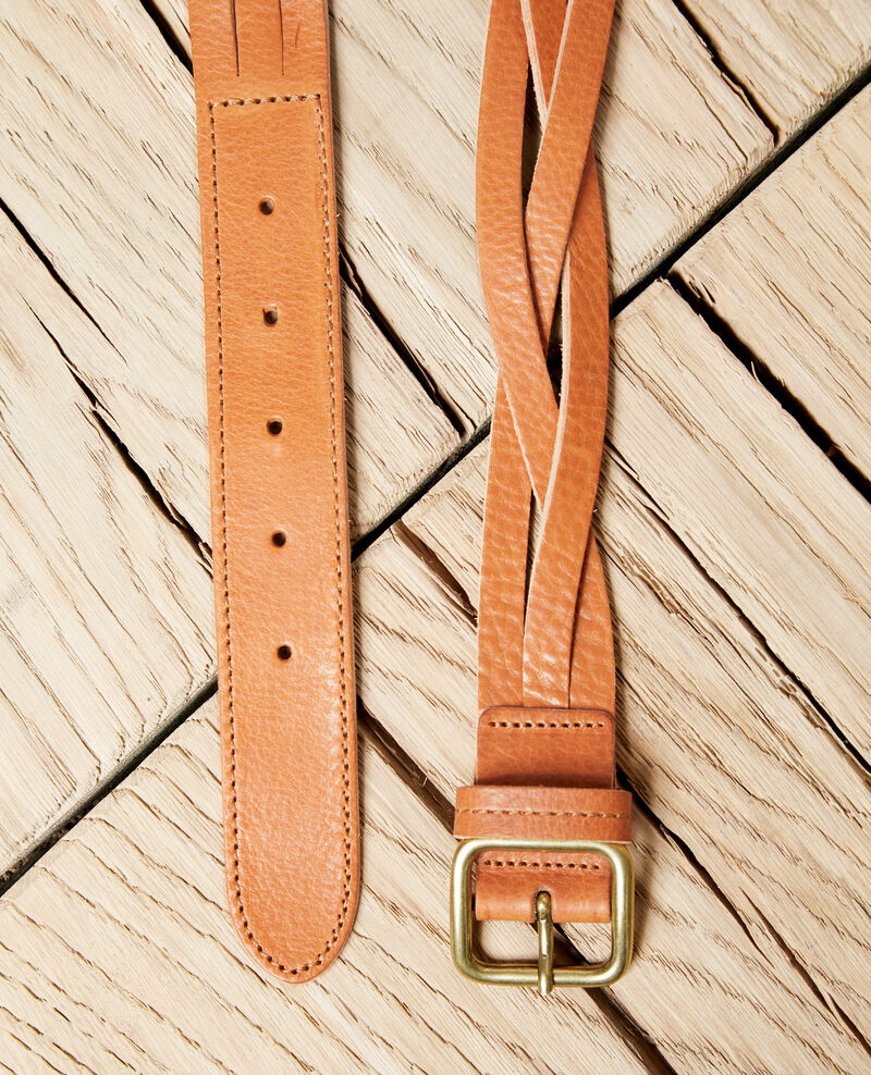 Braided leather belt Camel Inatte