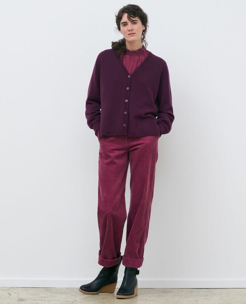 Loose cashmere 3D cardigan Potent purple Paltazar