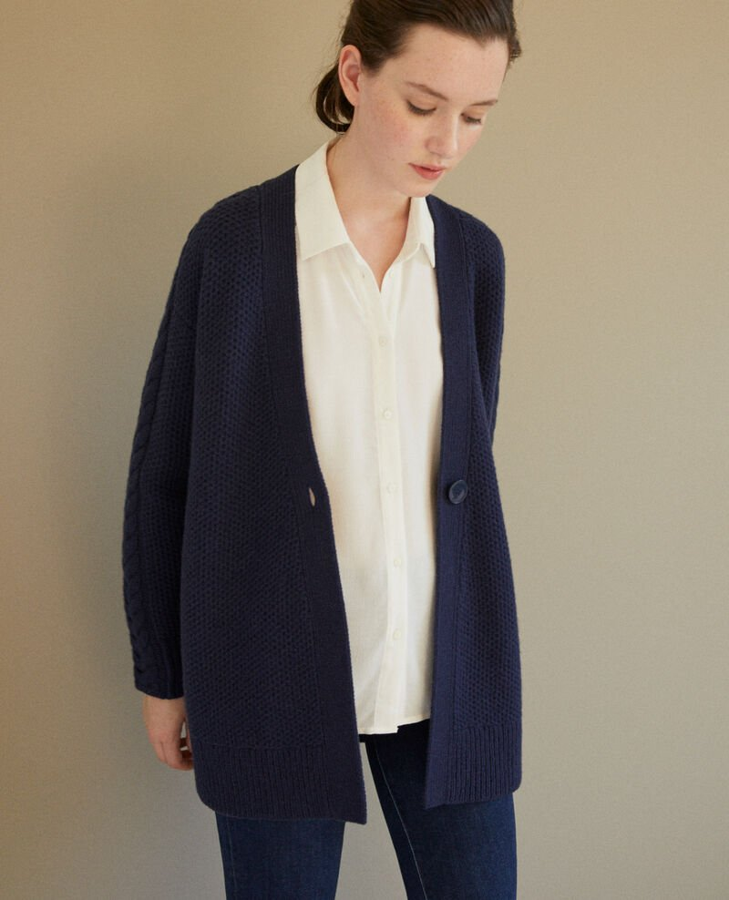 Cardigan with braiding details Blue Goatie