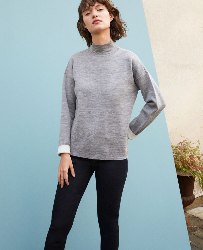Double-sided merino wool jumper Light heather grey/off white Gibbon