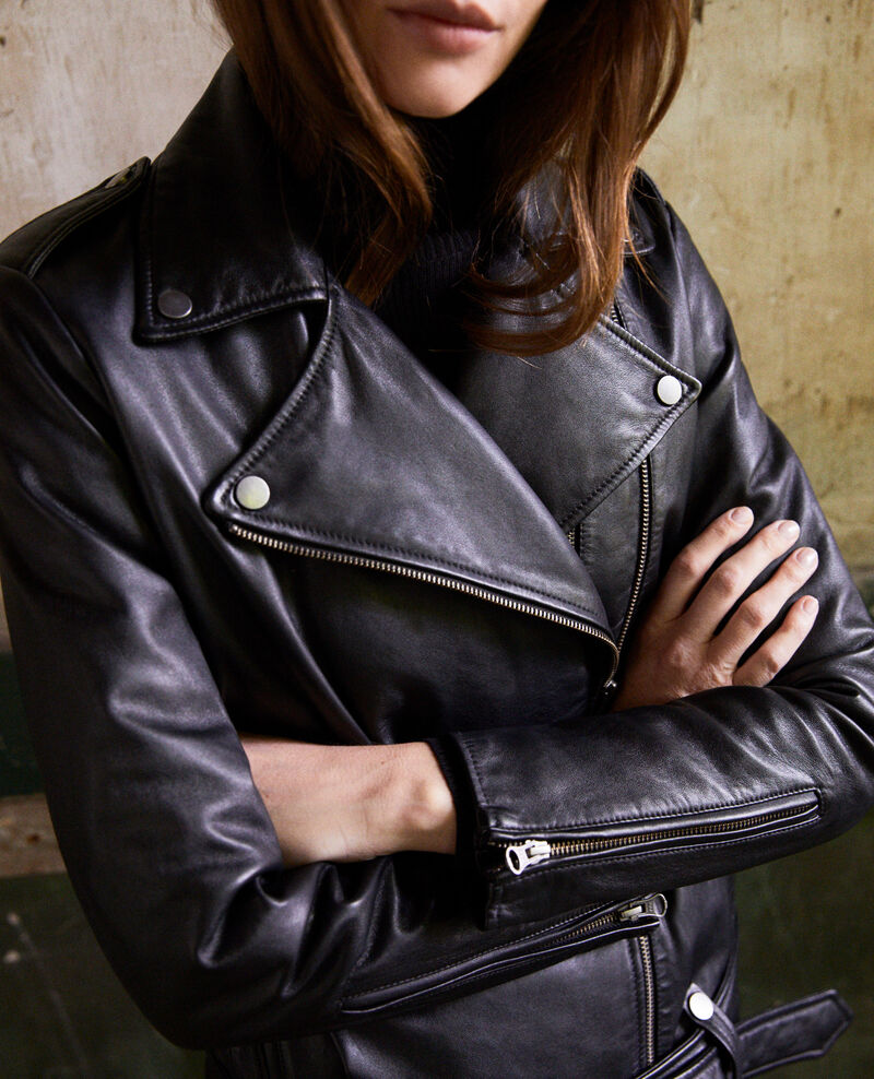 Smooth leather jacket Noir Jada
