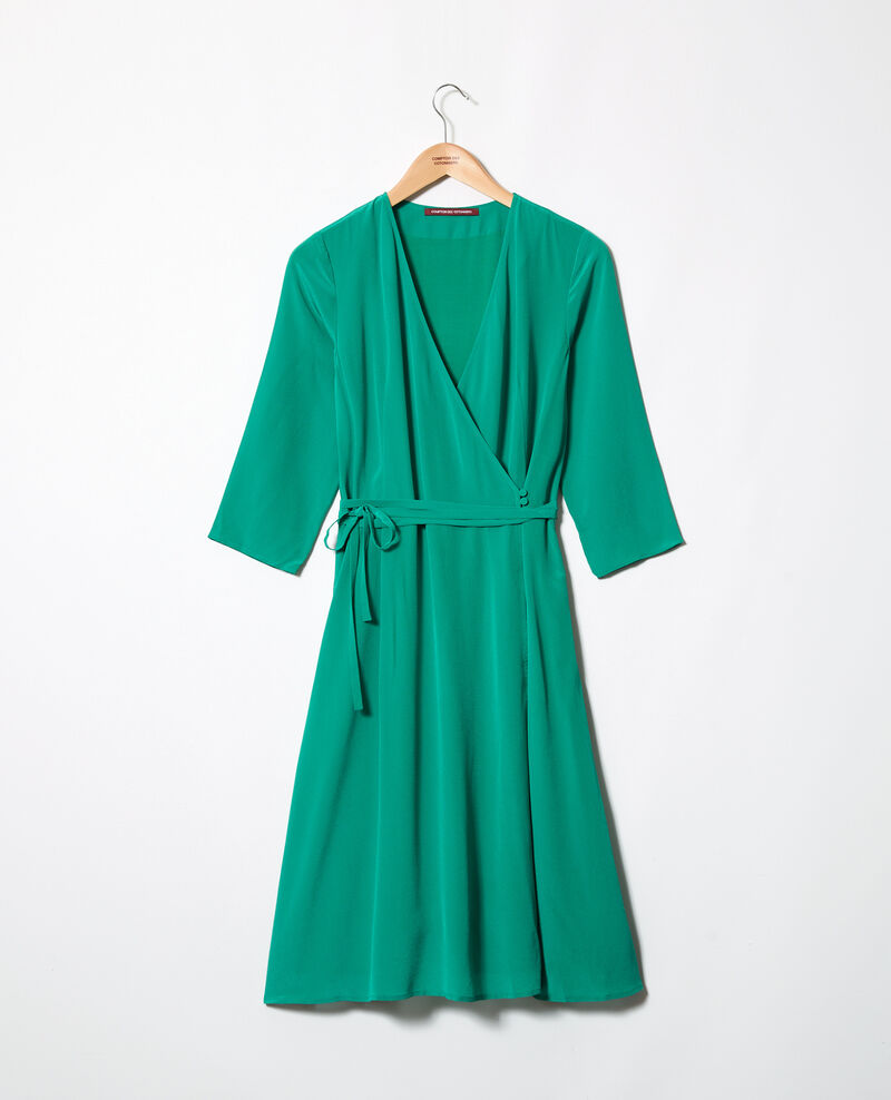 Silk wrap dress Green Icoeur