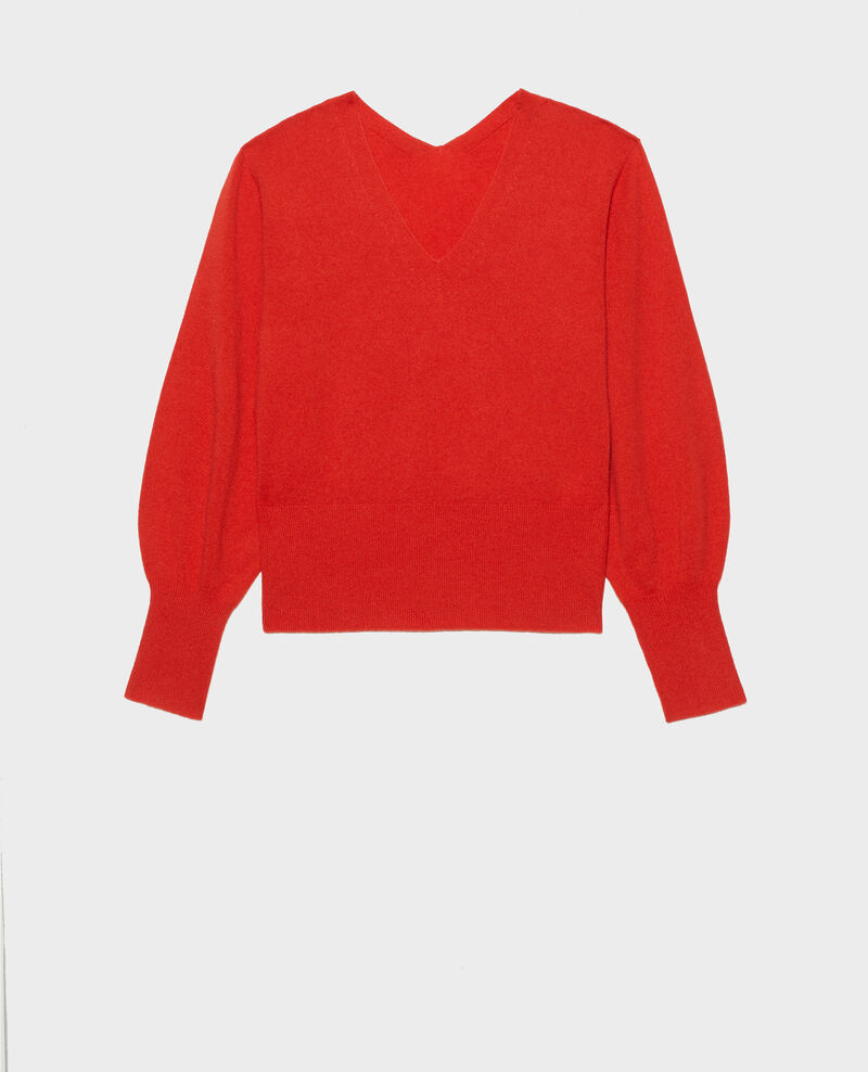 Fine 3D cashmere jumper with V-front and back Valiant poppy Manona