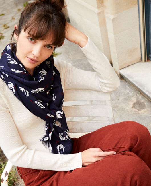 Printed scarf TULIP EVENING BLUE