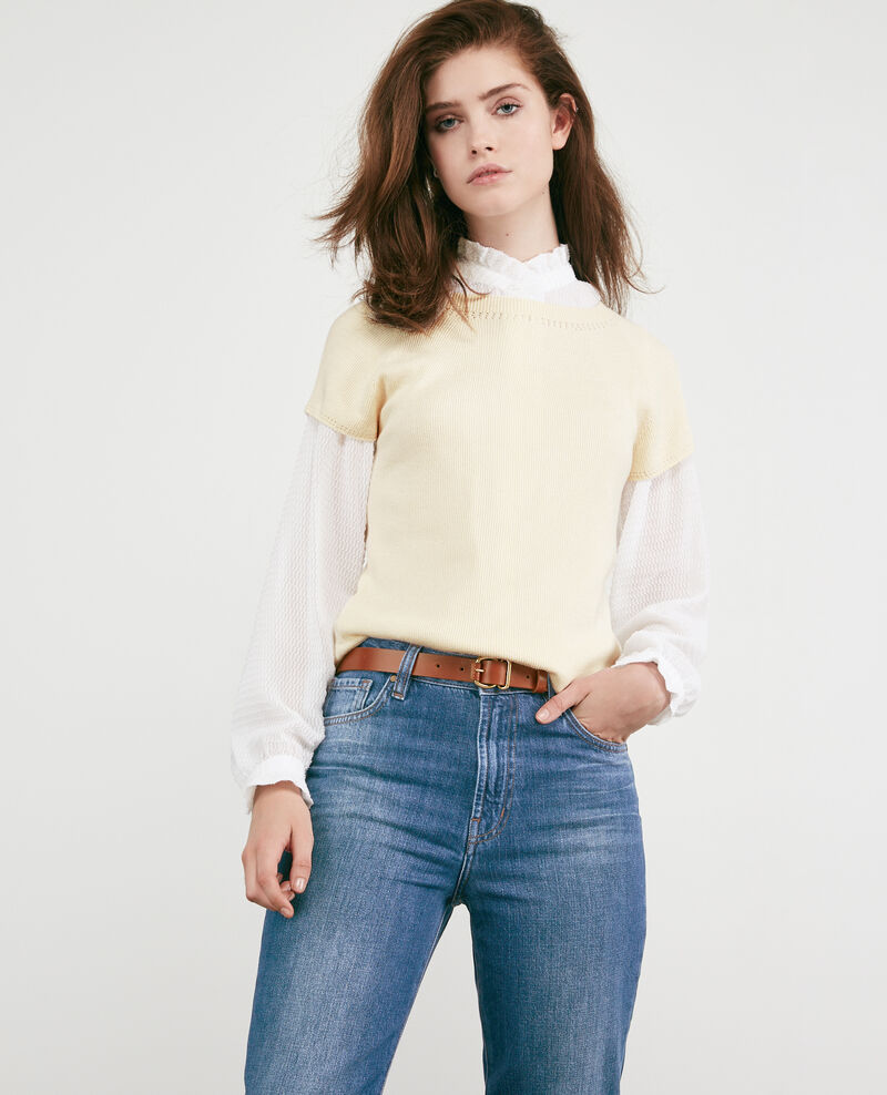 Seamless knitted short sleeve jumper Off white Dalande