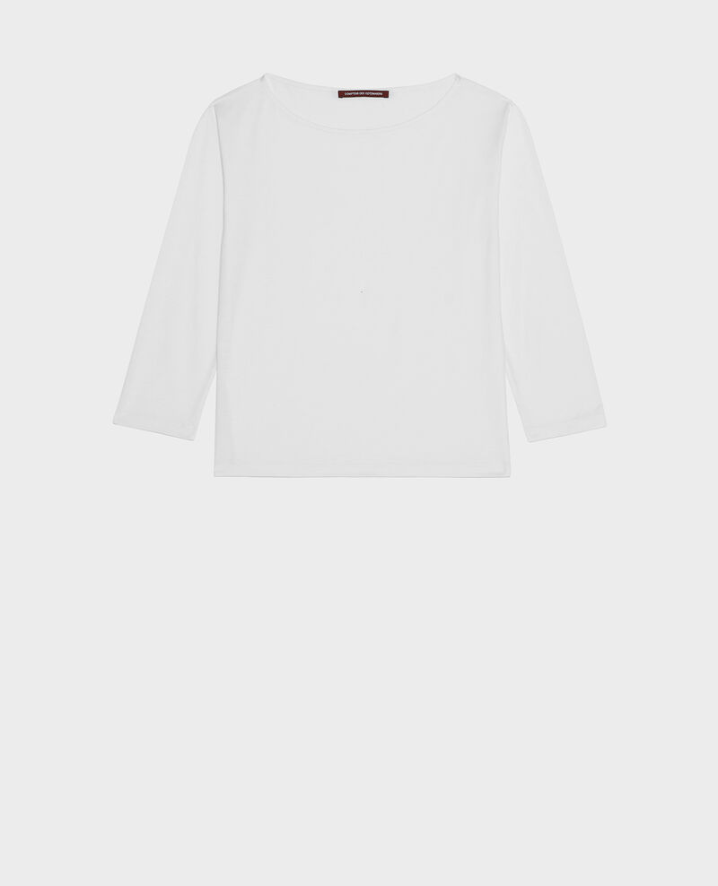 Boatneck long-sleeve cotton t-shirt Optical white Lotel