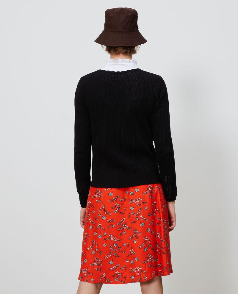 3D knit lace cardigan Black beauty Nosardi