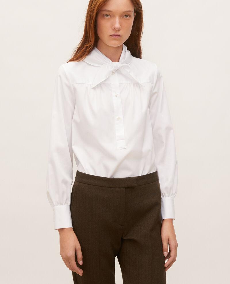 Cotton blouse with removable neck tie Brilliant white Manosque