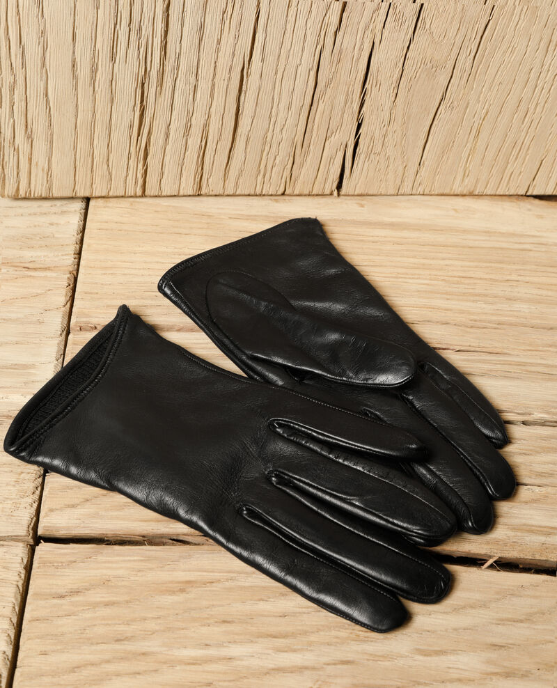 Leather gloves Black Gogant