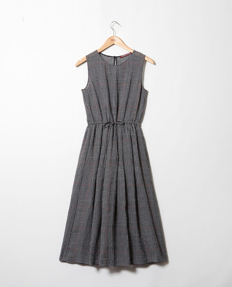 Linen blend midi dress Noir/blanc/rouge Ilibe