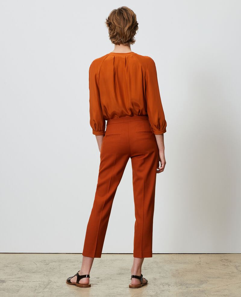 MARGUERITE trousers, wool 7/8 cigarette pants Umber Noko
